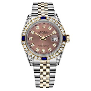 Rolex Datejust Salmon Dial with Sapphire & Diamond Bezel Watch