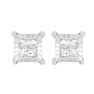 10K White Gold Princess 0.66ct Diamond Miracle Set Stud Earrings