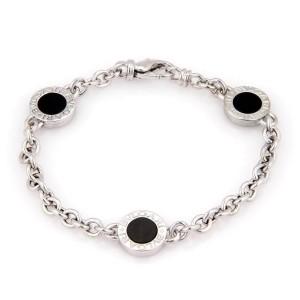 Bvlgari 18k White Gold 3 Circle Onyx Station Chain Bracelet