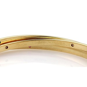 Cartier 18k Yellow Gold 1.26 Ct Diamonds & Gemstone Grooved Interlaced Bangle Bracelet