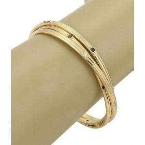 Cartier 18k Yellow Gold 1.26 Ct Diamonds & Gemstone Grooved Interlaced Bangle Bracelet