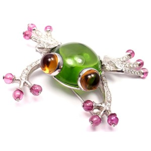 Bvlgari Bulgari 18k White Gold 29.15 Ct Peridot Diamond Pink Sapphire Citrine Frog Pin Brooch