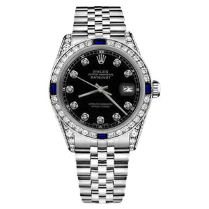 Rolex Datejust Black Sapphire & Diamonds Stainless Steel Jubilee Womens 26mm Watch
