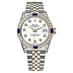 Rolex Datejust 2Tone 18K-Stainless Steel White Sapphire & Diamonds Bezel Jubilee Womens 26mm Watch