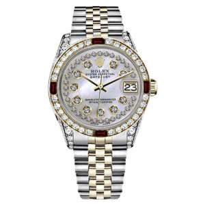 Rolex Datejust 2Tone 18K/Stainless Steel White Mother of Pearl String Dial Ruby & Diamond Bezel Womens 26mm Watch