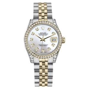 Rolex Datejust 2Tone Steel/18K Yellow Gold White Mother of Pearl Diamond Womens 26mm Watch