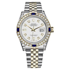 Rolex Datejust 2 Tone Stainless Steel/18K Gold White Dial with 8+2 Diamond & Blue Sapphire Womens 26mm Watch