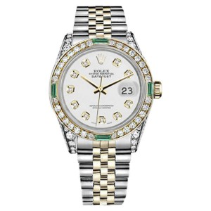 Rolex Datejust Steel & Gold White Diamond Dial Emerald Jubilee Womens 26mm Watch