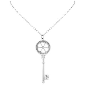 Tiffany & Co 925 Sterling Silver & Big Key Diamond Pendant Necklace