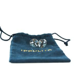 Ippolita Stering Silver Mens Cufflinks Wavy Disc Disk .925