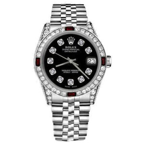 Rolex Datejust Stainless Steel Black Diamond Numbers Shoulders & Bezel Real Red Rubies 31mm Womens Watch