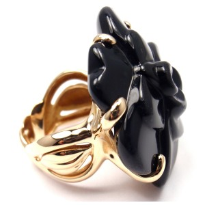 Chanel Camelia Camellia 18K Yellow Gold Black Onyx Large Flower Ring Size 6.5
