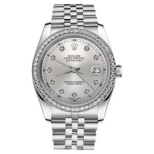 Rolex Datejust Stainless Steel Silver Natural Diamond Face 36mm Unisex Watch