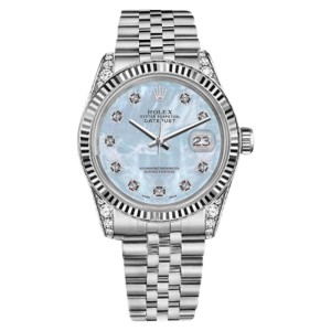 Rolex Datejust Stainless Steel Baby Blue Mother Of Pearl Diamond Dial 36mm Unisex Watch