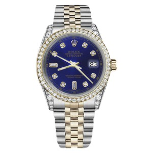 Rolex Datejust Stainless Steel/ 18K Gold Blue Color 8+2 Diamond Dial 31mm Womens Watch