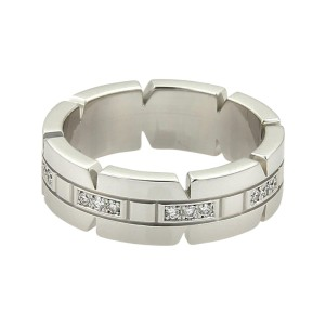 Cartier Tank Francaise 18K White Gold and 0.24ct Diamond Band Ring Size 6
