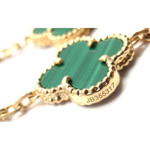 Van Cleef & Arpels 18K Yellow Gold with Malachite 20 Alhambra Necklace