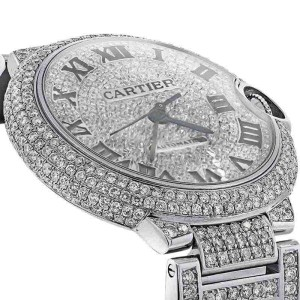 Cartier W6920046 Ballon Bleu Automatic Mid-Size Diamond Pave Dial Watch