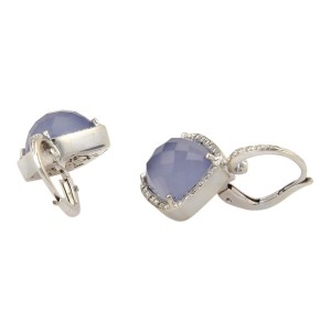 Rina Limor 18K White Gold Iolite & Diamond Earrings