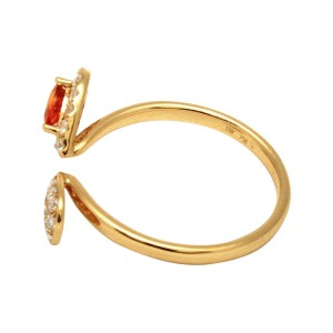 18K Gold Open Pear Citrine & Diamond Band Ring