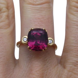 14K Yellow Gold Diamond Rubellite Ring