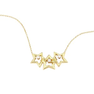 Tiffany & Co. 18K Yellow Gold 3 Star Diamond Pendant Necklace
