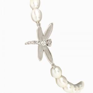 Tiffany & Co. 18K White Gold Diamonds & Pearls Dragonfly Bracelet