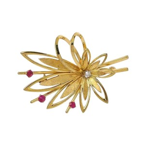 Tiffany & Co. 14K Yellow Gold & Ruby Floral Sprig Brooch Pin