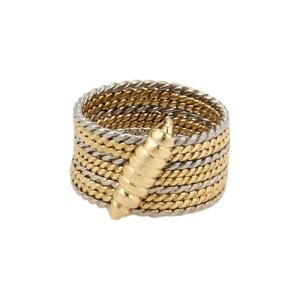 Vintage Cartier 18K White and Yellow Gold Circular Multi Ring Pendant