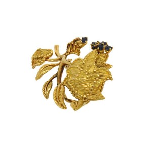 Vintage Tiffany & Co. 18K Gold & Saphire Floral Pin