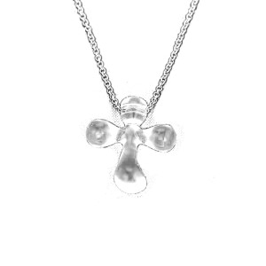Tiffany & Co. Elsa Peretti Platinum Chain & Clear Quartz Cross Pendant Necklace
