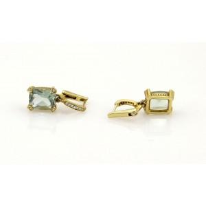 Judith Ripka Prasiolite & Diamonds Drop Dangle Earrings