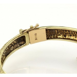 Vintage Diamond & Enamel 14K Yellow Gold Bypass Snake Design Bangle Bracelet