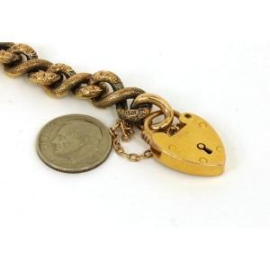 Victorian 15K Gold Intricate Engraved Ladies Locket Bracelet