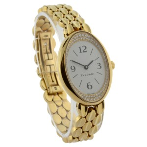 Bulgari OV 32 G Oval 18K Yellow Gold & Diamond Quartz Womens Watch