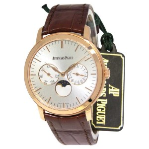 Audemars Piguet 26385OR Jules 18K Rose Gold Moon Calendar Mens Watch