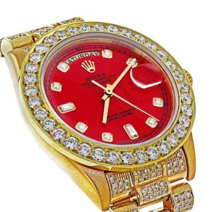 Rolex 18038 Presidential 18K Yellow Gold  Single Quick Set Diamond Red Dial Watch