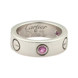 Cartier 18K White Gold Love 3 Pink Sapphire Band Ring Size 46-US 3.5