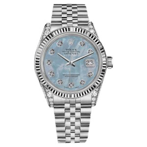 Rolex Datejust Baby Blue MOP Mother Of Pearl 8+2 Diamond Dial 26mm Woman's Watch