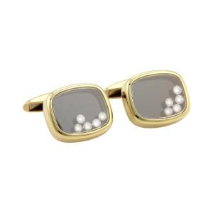 Chopard Happy Diamond 18k Yellow Gold Rectangular Stud Cufflinks