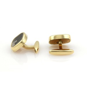 Chopard Happy Diamond 18k Yellow Gold Rectangular Stud Cufflinks