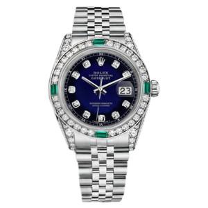 Rolex Datejust Blue Vignette Dial Jubilee Bracelet Emerald Diamonds 26mm Watch