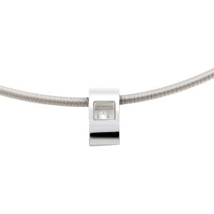 Chopard 18K White Gold Happy Diamond Slide Pendant Cable Choker Necklace