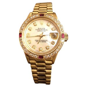 Rolex Datejust 6917 18K Yellow Gold President Watch White Mop Diamond & Rubies Womens Watch