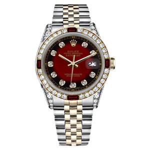 Rolex Datejust 2Tone Red Vignette Accent Dial Ruby & Diamond Bezel Womens 26mm Watch
