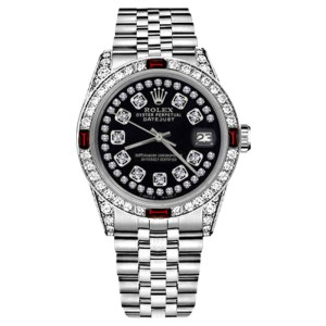 Rolex Datejust Stainless Steel Ruby Diamond & Glossy Black String Dial 26mm Womens Watch