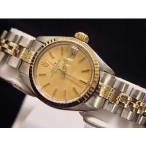 Rolex Date 6917 Two Tone 14K Yellow Gold Steel With Jubilee Band Champagne Dial Vintage Womens Watch
