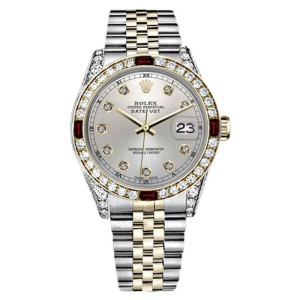 Rolex Datejust 2Tone 18K/SS Silver Ruby & Diamond Classic Jubilee Womens 26mm Watch