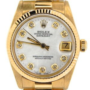 Rolex Datejust 6827 18K Yellow Gold With White Mother Of Pearl Diamond 31mm Unisex Watch