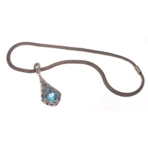 John Hardy Sterling Silver & Blue Topaz Katu Kali Collection Necklace